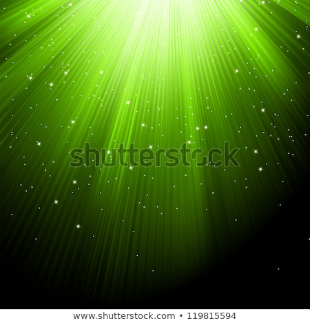 Snow and stars on green luminous rays. EPS 8 Stock photo © beholdereye