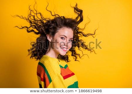 menina · vento · bom · retrato · bonitinho · morena - foto stock © carlodapino