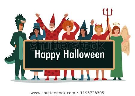 sevimli · kız · halloween · kutlama · anne - stok fotoğraf © stockyimages