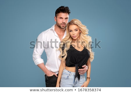 Mooie vrouw toevallig kleding heldere foto vrouw Stockfoto © dolgachov