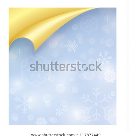 Light Paper with Snowflake Texture and Curled Golden Corner Stock photo © liliwhite