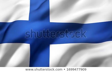 Weefsel textuur vlag Finland Blauw boeg Stockfoto © maxmitzu