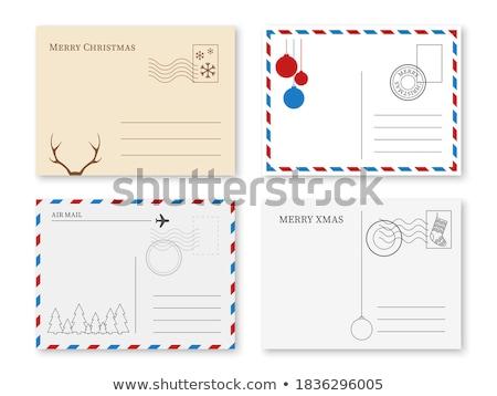 Natal cartão postal papel vermelho branco árvore Foto stock © jonnysek