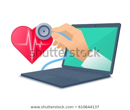 stéthoscope · portable · clavier · espace · de · copie · internet · médicaux - photo stock © wavebreak_media
