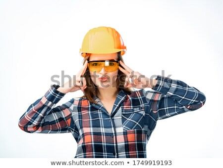 Zdesperowany kobiet pracownik budowlany szczęśliwy pracownika hat Zdjęcia stock © photography33