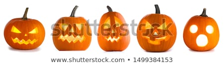 Stockfoto: Pompoen · halloween · illustratie · boom · oog · gras