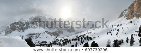 Rock and snow pass in clouds Stock photo © BSANI
