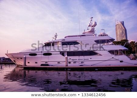 yacht harbor on sunset stock photo © annaomelchenko