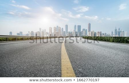 Drogowego budynków panoramę malarstwo sylwetka Zdjęcia stock © zzve