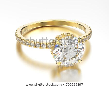 brilliant diamond engagement ring in yellow gold Stock photo © CarpathianPrince