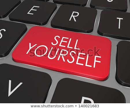 Vendre vous-même affaires bleu flèche slogan Photo stock © tashatuvango