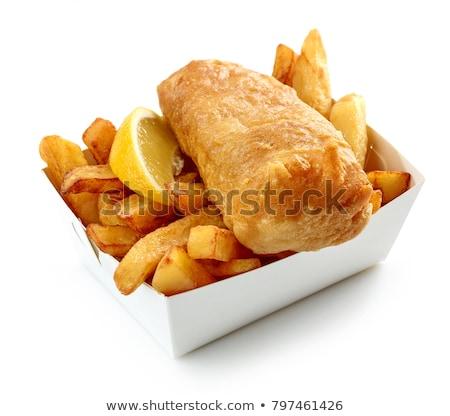 Сток-фото: рыбы · чипов · изолированный · продовольствие · газета · фон