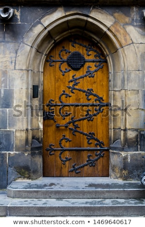 Gótikus ajtó stílus fából készült európai középkori Stock fotó © FER737NG