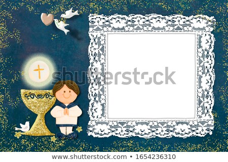 brown boy celebrating first communion invitation card Stock photo © marimorena