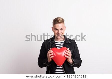 красный · С · Днем · Рождения · формы · сердца · шаров · 3D · изолированный - Сток-фото © shawnhempel