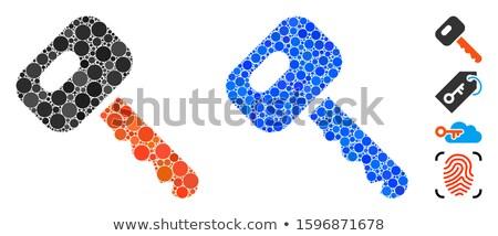 Azul pequeño coche cerradura de combinación 3d gris Foto stock © cherezoff