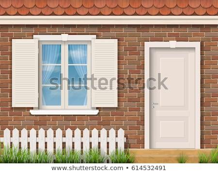 Részlet ház homlokzat ablak textúra építkezés Stock fotó © meinzahn