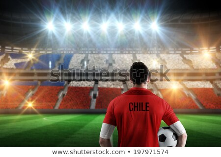 Soccer ball with Chile flag on pitch Stock photo © stevanovicigor