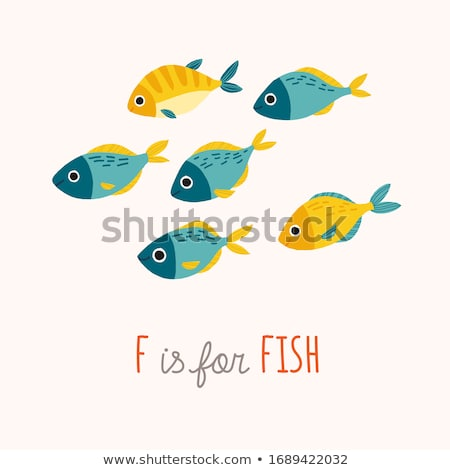 Marine life with yellow fish, vector illustration  Stock photo © carodi