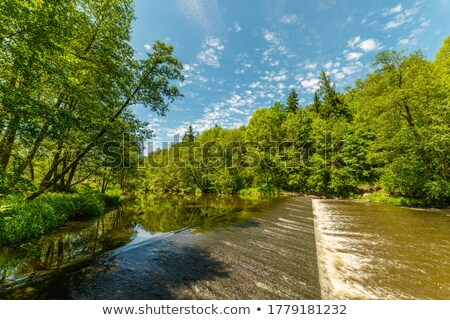 weirs on river in a spring landscape stock photo © nejron