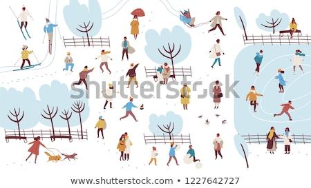 Junge Winter Park Schneeball Zeit Stock foto © adam121