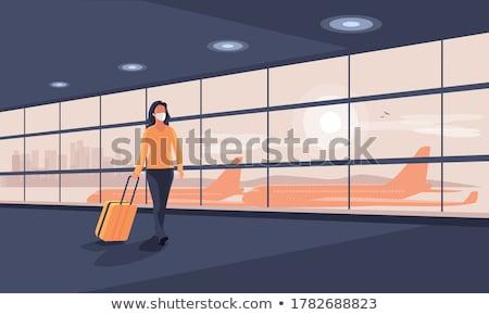 decolagem · avião · aeroporto · pôr · do · sol · avião · fundo - foto stock © c-foto