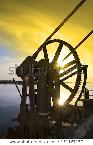 old mechanical crane on Salleen pier Stock photo © morrbyte