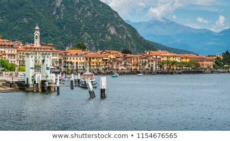 カフェ 遊歩道 湖 イタリア 花 水 ストックフォト © artjazz