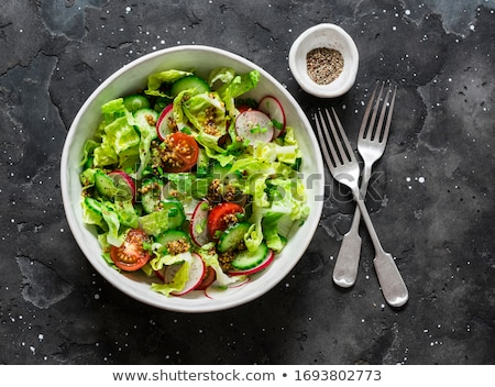 Radijs salade voedsel blad restaurant olie Stockfoto © yelenayemchuk