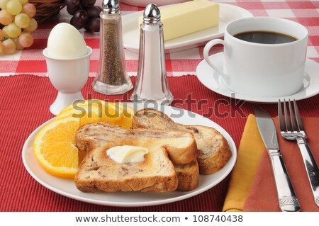 sliced hard boiled eggs and fruit nutricious breakfast stock photo © martince2