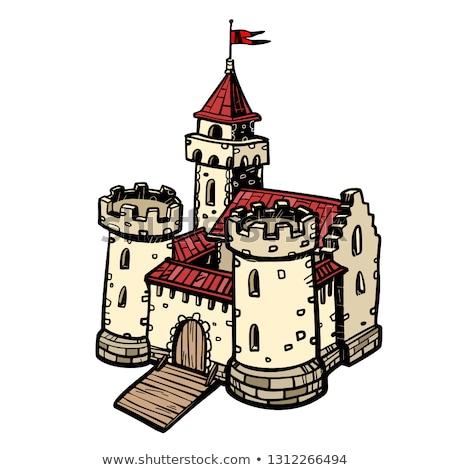 Поп-арт замок старый город вектора интерпретация дома Сток-фото © tracer
