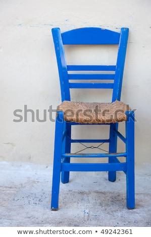 Yunan sandalye geleneksel ahşap sandalye dekore edilmiş yastık Stok fotoğraf © limpido