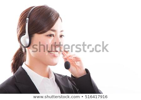 beyaz · saçlı · işadamı · kadın · konuşma · kulaklık - stok fotoğraf © nyul