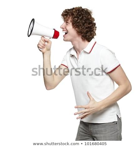 Oldalnézet portré férfi kiált fehér vállalati Stock fotó © deandrobot
