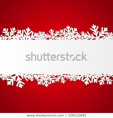 White and Red SnowFlake Christmas Border Stock photo © PokerMan