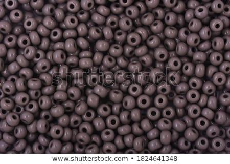 Fonal fényes szürke gyöngyök keret közelkép Stock fotó © juniart