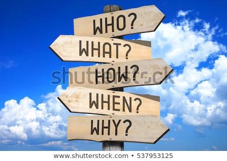 часто задаваемые вопросы слово дорожный знак небе знак синий Сток-фото © fuzzbones0