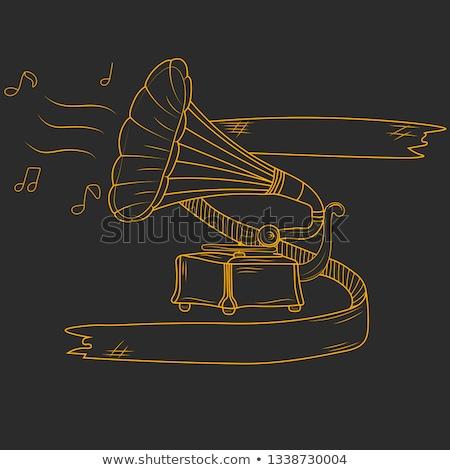 Stockfoto: Grammofoon · icon · krijt · Blackboard