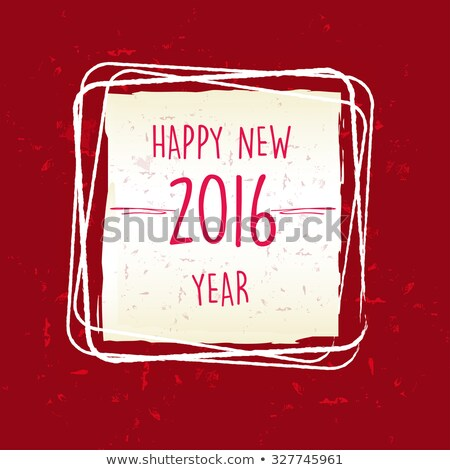 Happy New Year 2016 In Frame Over Red Old Paper Background Stockfoto © marinini