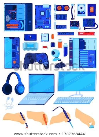 microprocesseur · main · humaine · isolé · blanche · ordinateur · fond - photo stock © nemalo
