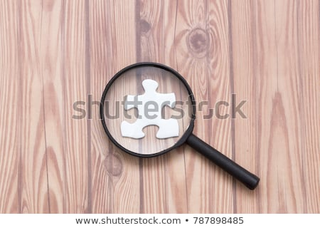 Estrategia que falta rompecabezas pieza lupa palabra Foto stock © tashatuvango