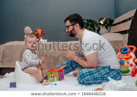 csecsemő · kicsi · kislány · ül · kék · nyitott · könyv - stock fotó © adrenalina