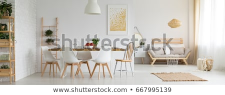Ebédlőasztal tágas szoba fából készült szett eszik Stock fotó © jrstock