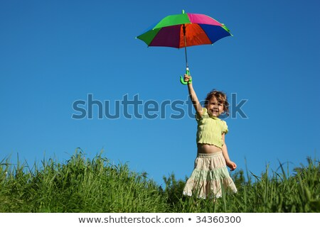 girl with multicoloured umbrella in lifted hand in grass Stock photo © Paha_L
