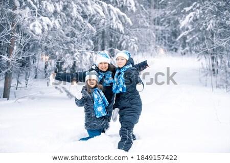 Jovem família inverno floresta belo moderno Foto stock © dariazu