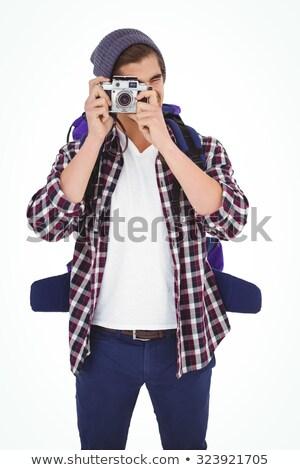 Stockfoto: Fotograaf · geïsoleerd · witte · oog · gezicht · werk