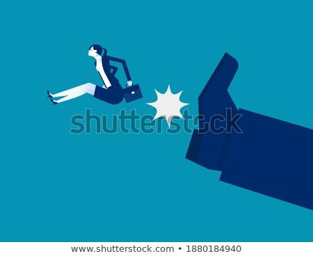 Gigante pessoa pequeno empresária mulher terno Foto stock © ra2studio
