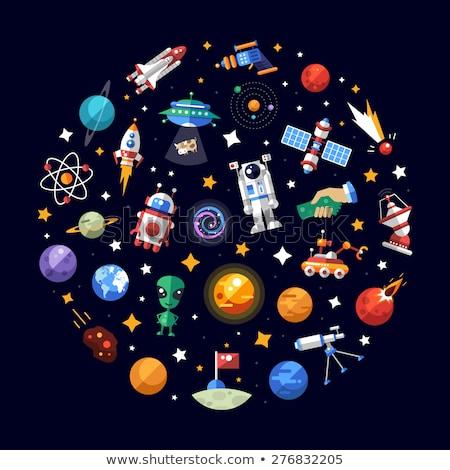 ruimte · iconen · cirkel · ontwerp · aarde · web - stockfoto © genestro