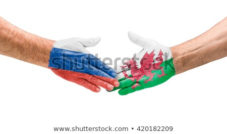 Football teams - Handshake between Russia and Wales Stock photo © Zerbor