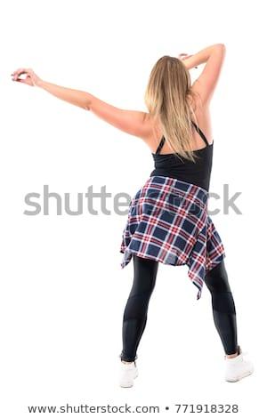 Hátulnézet portré fiatal nő nyújtás kezek izolált Stock fotó © deandrobot